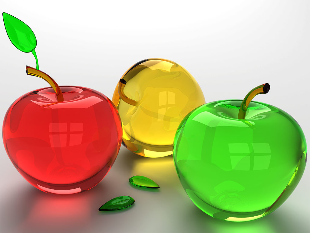 Three Apples Glass Art